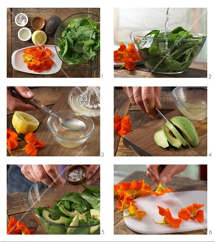 How to prepare spinach salad with avocado and nasturtium flowers
