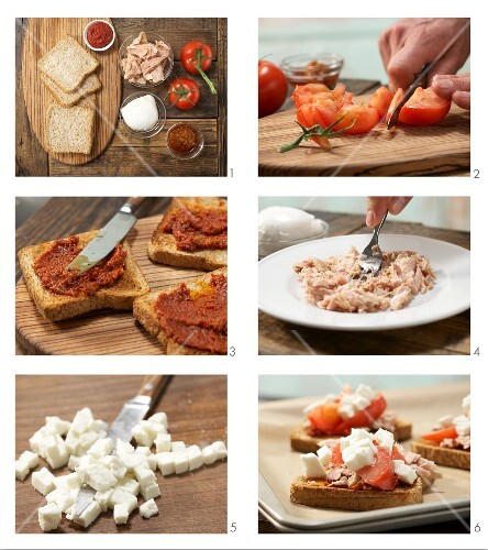 How to prepare pizza toast with tuna, tomato and mozzerella