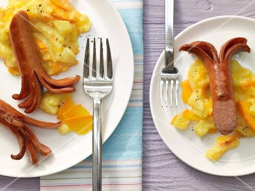 Potato & pumpkin puree with sausages