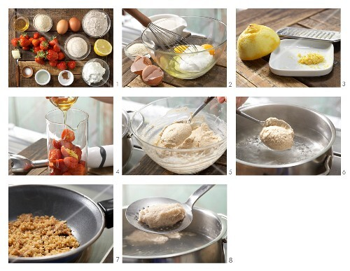 How to prepare quark dumplings with strawberry sauce