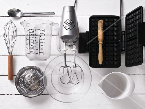 Assorted utensils for making waffles