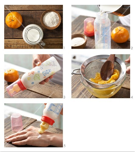 How to prepare mandarine baby food drink in a baby bottle