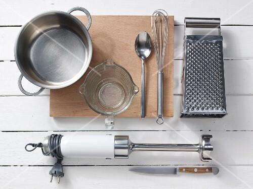 Assorted kitchen utensils for preparing baby food