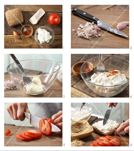How to prepare savoury quark & cream cheese bread rolls with tomato