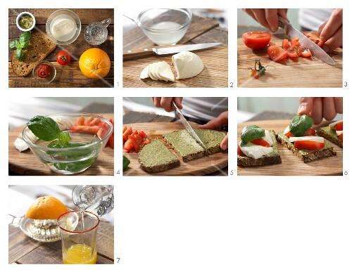 How to prepare bread with a mozzarella topping and orangeade
