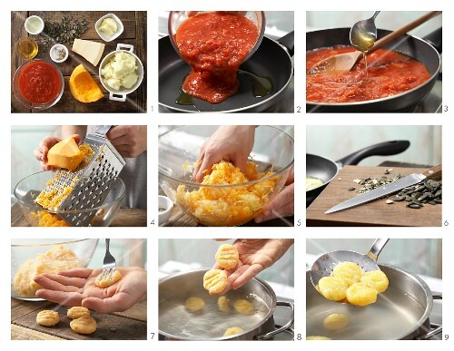 How to prepare pumpkin gnocchi with tomato sauce