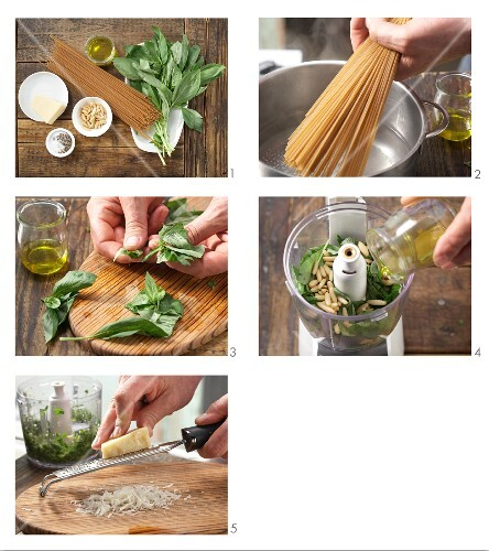 How to prepare spaghetti with green pesto