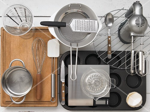Assorted utensils for preparing muffins