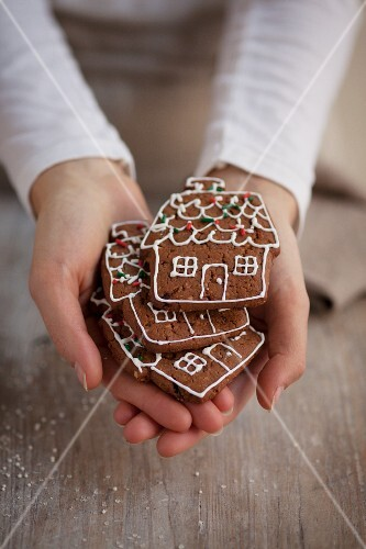 A person holding house-shaped gingerbread biscuits