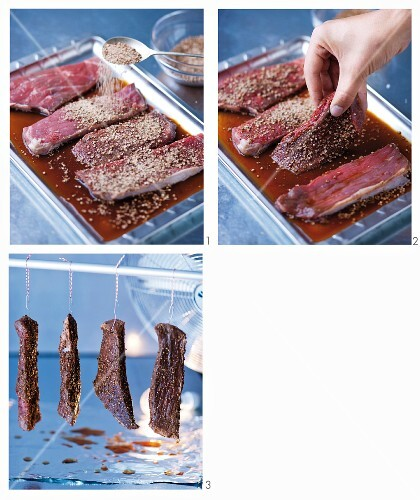 Biltong (air-dried meat, South Africa) being made