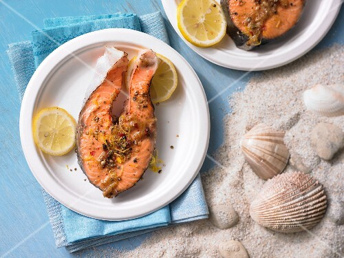 Grilled pepper salmon
