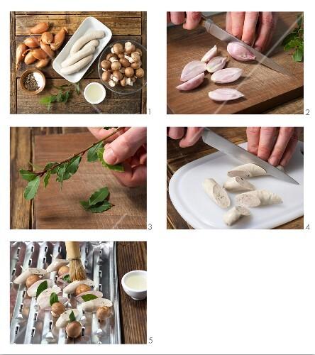 How to prepare sausage & mushroom kebabs