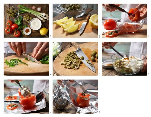 How to prepare tomatoes filled with ricotta and aerved with herbs and capers