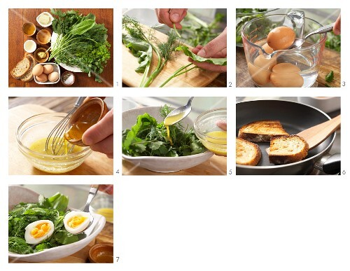How to prepare herb salad with egg and a light mustard vinaigrette