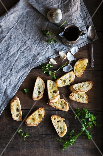 Toasted Baguette with garlic, olive oil and parsley