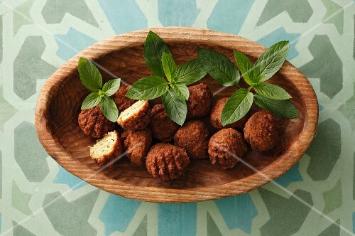 Falafel in a wooden bowl