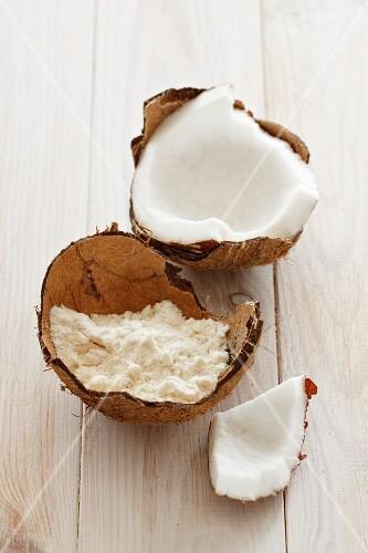A coconut and coconut flour