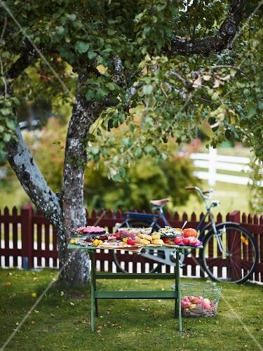 An autumnal buffet on a wooden table in a garden