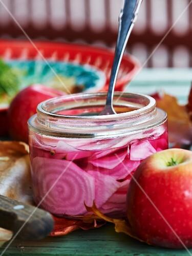 Chioggia beets in vinegar in a preserving jar