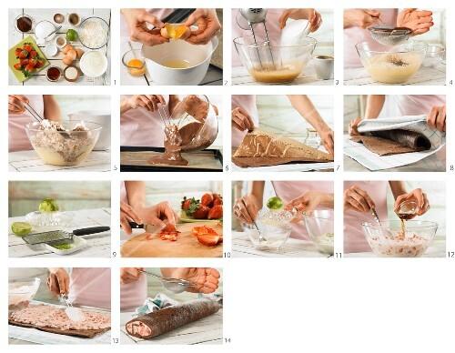 How to prepare strawberry tiramisu roll with espresso