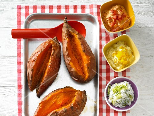 Sweet potatoes with colourful dips