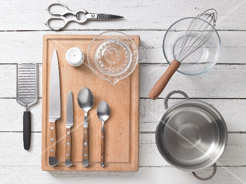 Kitchen utensils for preparing wasabi eggs with cress and turkey breast