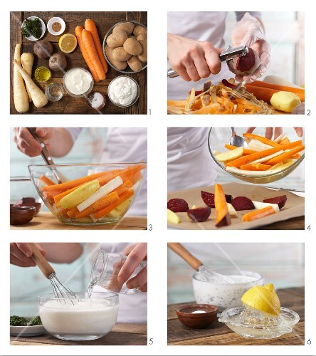 How to prepare colourful roasted vegetables with a dip