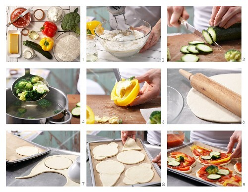 How to prepare pizza faces with vegetables