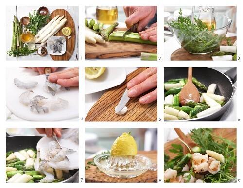 How to prepare asparagus salad with prawns