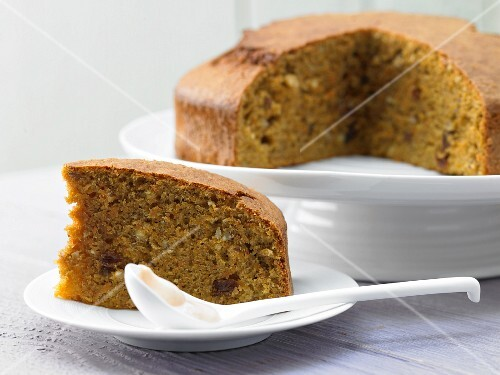 Sliced carrot and nut cake