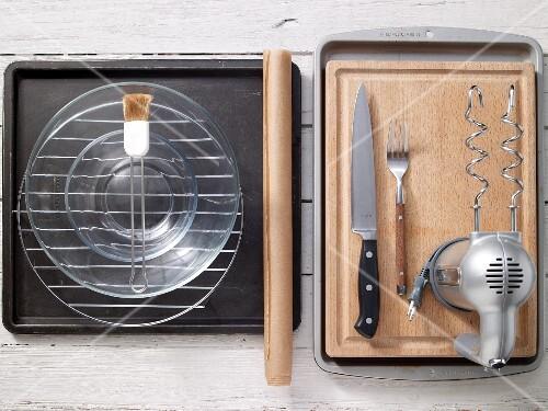 Assorted kitchen utensils for baking
