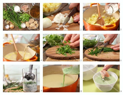 How to prepare herb and potato soup with fillet of trout