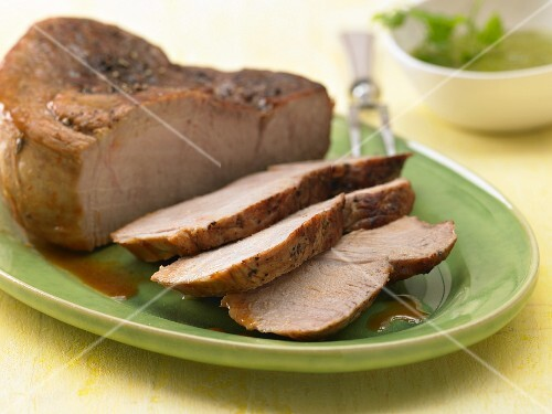 Roast veal with herb sauce