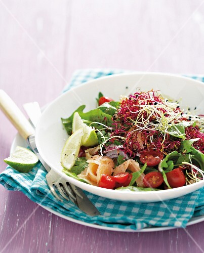 Mixed salad with smoked salmon and bean sprouts