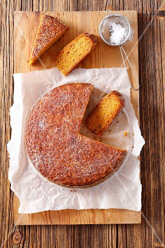 Carrot and sweet potato cake, sliced