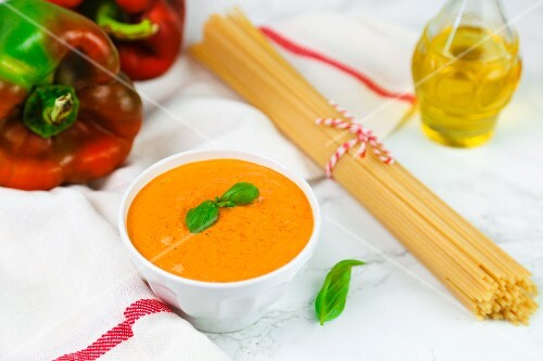 Pepper sauce with basil