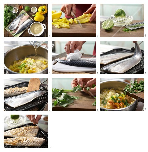 How to prepare pepper and lime couscous with grilled mackerel