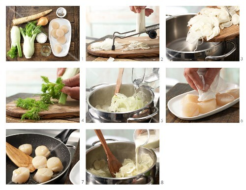 How to prepare scallops with fennel and onion