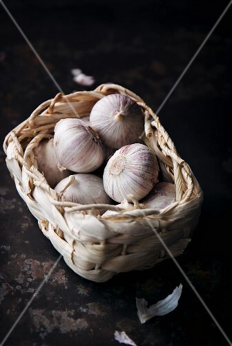 Fresh garlic in a basket