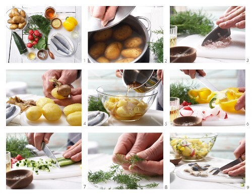 How to prepare potato and herring salad with yellow pepper, radish and a dill and mustard dressing