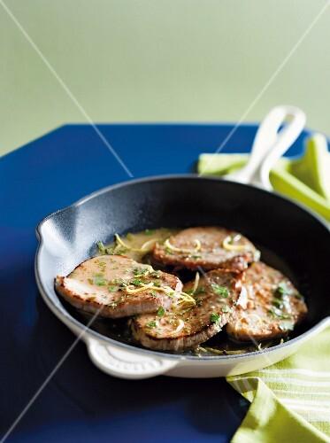 Pork minute steaks with caper & white wine sauce