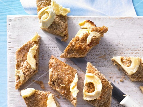 Apple and walnut slices with porridge oats