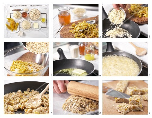 How to prepare mango and almond squares with sesame seeds