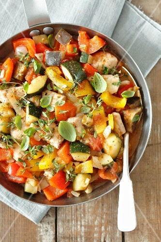 Braised chicken breast on ratatouille vegetables