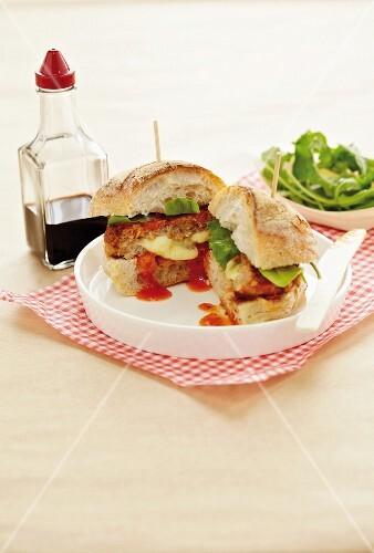 An Italian pork burger with mozzarella