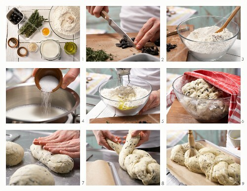 How to prepare a savoury sesame seed yeast plait with olives and rosemary