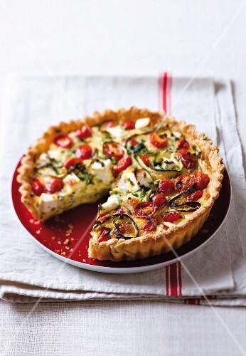 Tomato, courgette & feta quiche