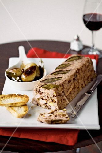 Pork & chicken terrine with prunes and balsamic onions