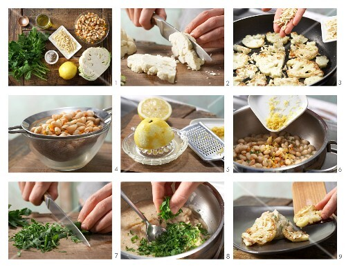 How to prepare pan-fried cauliflower slices with bean purée and almond