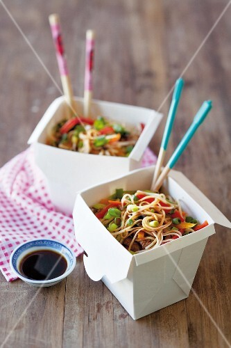 Beef teriyaki with noodles in a takeaway box
